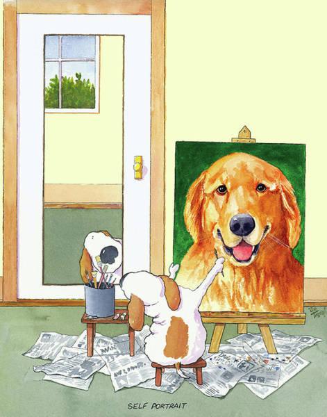Wall Art - Painting - Self Portrait Golden Retriever by Jim Tweedy