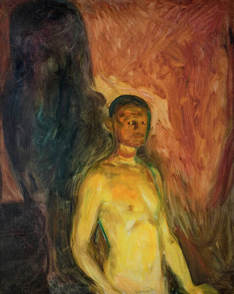 Wall Art - Painting - Self-portrait In Hell, 1903 by Edvard Munch