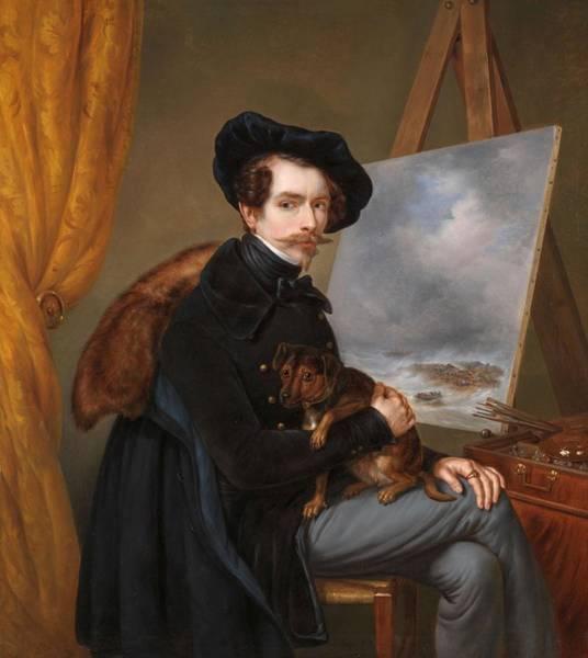 Meijer Painting - Self-portrait. by Louis Meijer