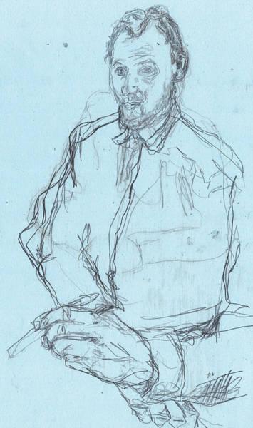 Drawing - Self-portrait Pencil Blue 1 by Artist Dot
