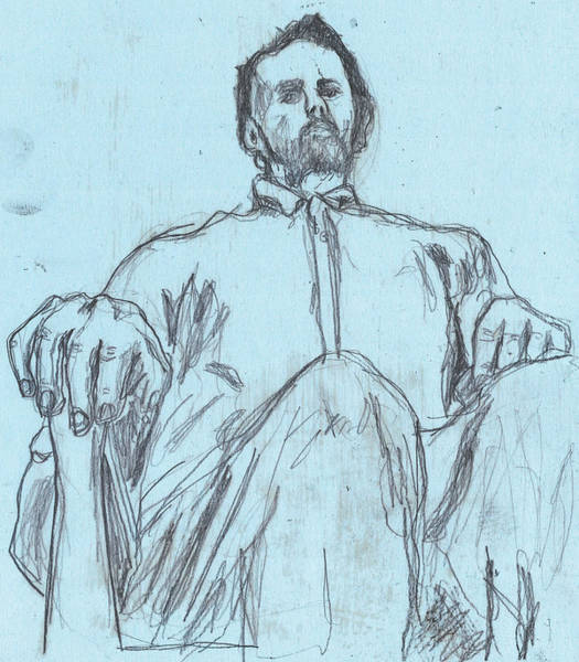 Drawing - Self-portrait Pencil Blue 2 by Artist Dot