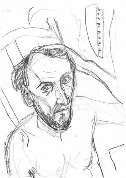 Drawing - Self-portrait Pencil Reach 1 by Artist Dot