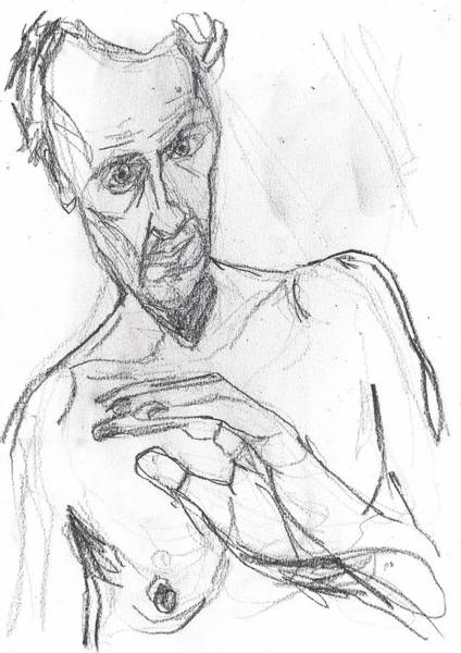 Drawing - Self-portrait Pencil Reach 11 by Artist Dot