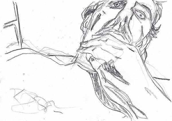 Drawing - Self-portrait Pencil Reach 2 by Artist Dot
