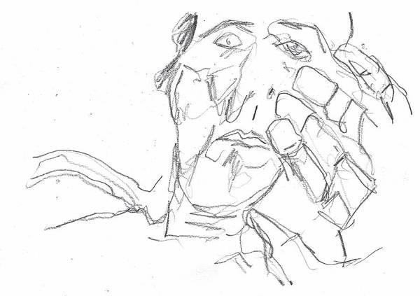 Drawing - Self-portrait Pencil Reach 3 by Artist Dot