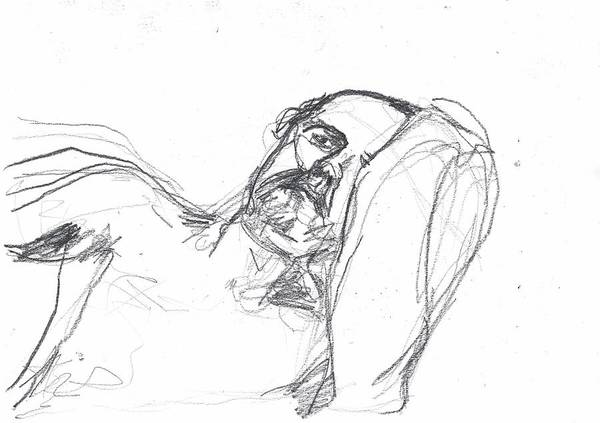 Drawing - Self-portrait Pencil Reach 4 by Artist Dot