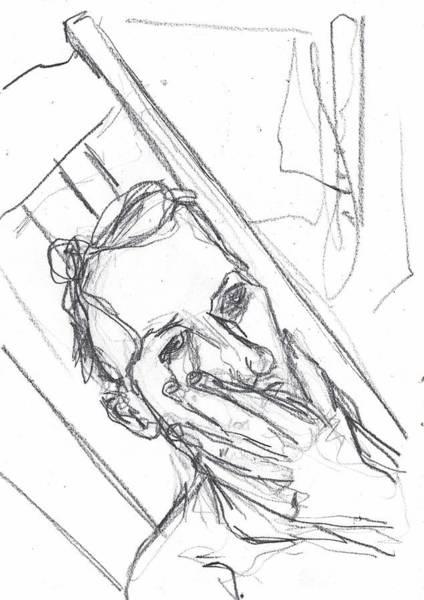 Drawing - Self-portrait Pencil Reach 6 by Artist Dot