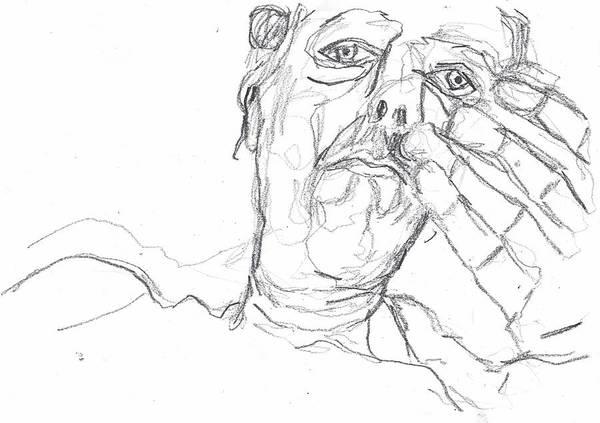 Drawing - Self-portrait Pencil Reach 7 by Artist Dot