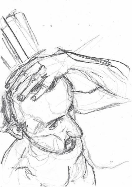 Photograph - Self-portrait Pencil Reach 8 by Artist Dot