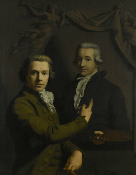 Wall Art - Painting - Self-portrait, Pointing To The Portrait Of His Deceased Colleague by Willem Bartel van der Kooi