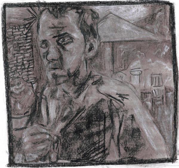 Drawing - Self Portrait Tugging Shirt by Artist Dot