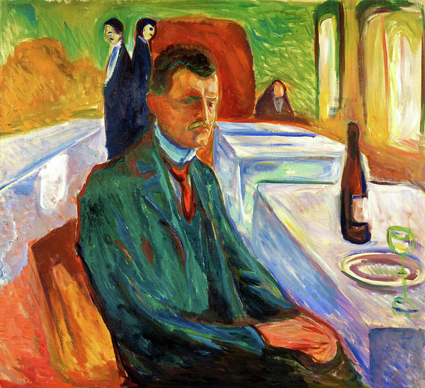Wall Art - Painting - Self-portrait With A Bottle Of Wine - Digital Remastered Edition by Edvard Munch