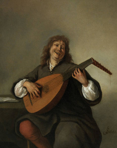 Bar Scene Painting - Self-portrait With A Lute Sense Of Hearing by Jan Steen