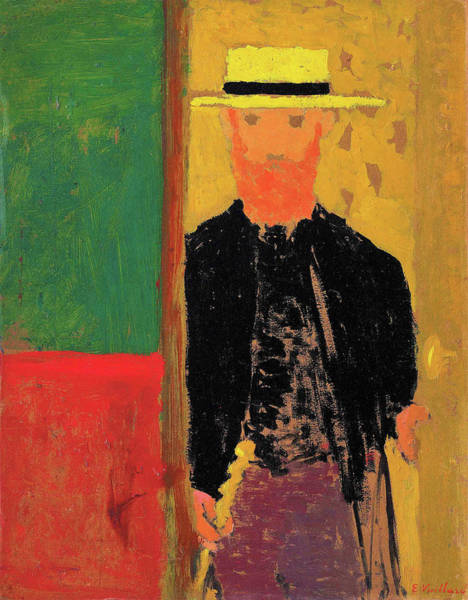 Wall Art - Painting - Self-portrait With Cane And Boater - Digital Remastered Edition by Edouard Vuillard
