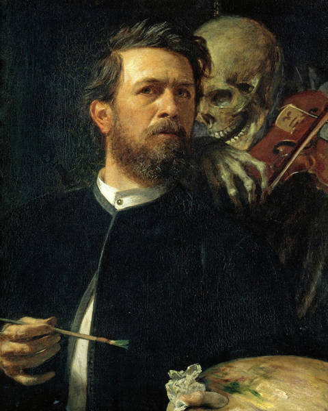 Wall Art - Painting - Self-portrait With Death Playing The Fiddle, 1872 by Arnold Bocklin