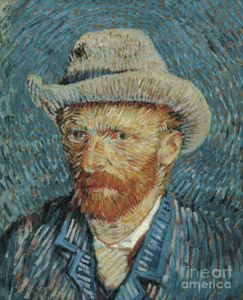 Wall Art - Painting - Self Portrait With Felt Hat, 1887-88 by Vincent Van Gogh