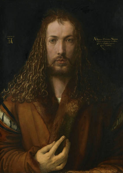 Wall Art - Painting - Self-portrait With Fur-trimmed Robe, 1500 by Albrecht Durer