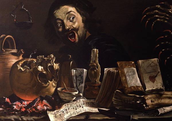 Magic Realism Painting - Self-portrait With Magic Scene by Pieter van Laer