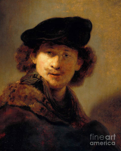Wall Art - Painting - Self Portrait With Velvet Cap, 1634 by Rembrandt Harmensz van Rijn