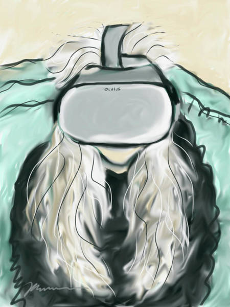 Painting - Self Portrait With Vr Headset  by Jean Pacheco Ravinski