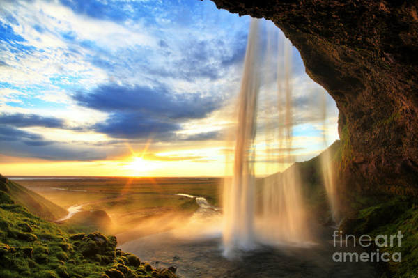 Wall Art - Photograph - Seljalandfoss Waterfall At Sunset by Romanslavik.com