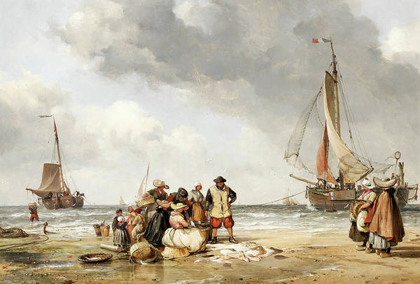 Wall Art - Painting - Selling Fish, Scheveling Beach by Edward William Cooke