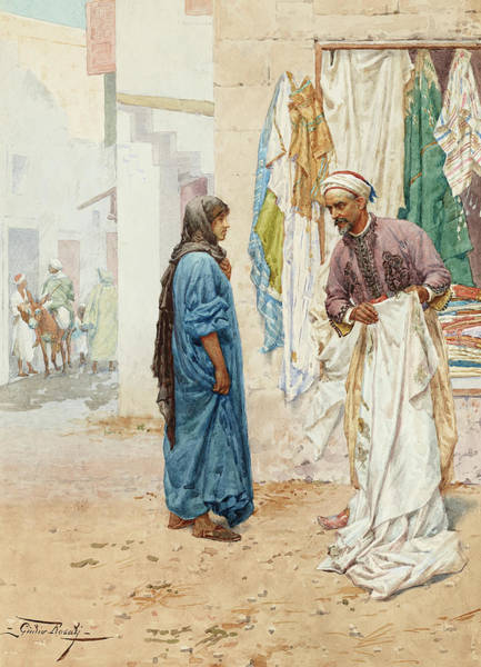Wall Art - Painting - Selling The Gown by Giulio Rosati