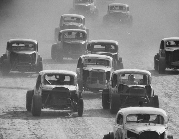 Dust Photograph - Semi Pro Stockcar Racing.  Photo By Sta by Stan Wayman