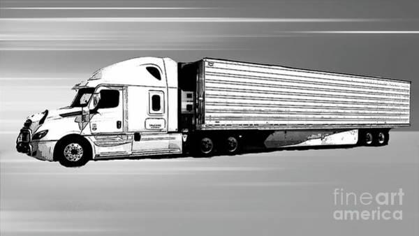 Photograph - Semi Truck - Grayscale Digital Art by Carol Groenen