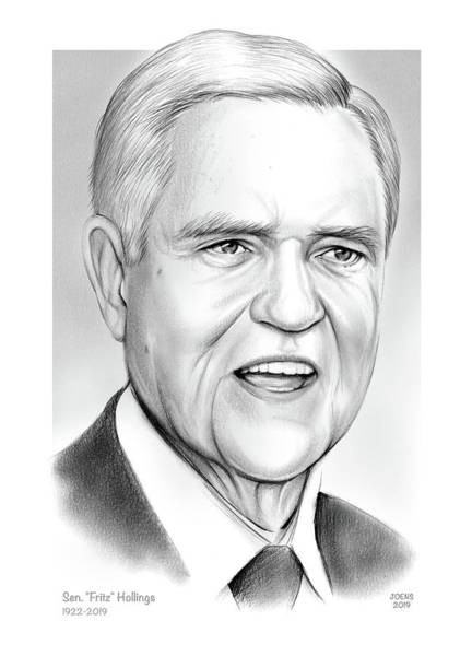 Wall Art - Drawing - Sen. Fritz Hollings by Greg Joens
