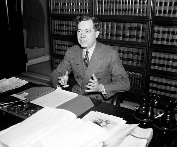 Wall Art - Photograph - Senator Huey Long At His Desk - 1935 by War Is Hell Store