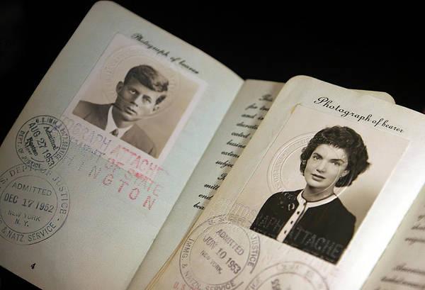 Wall Art - Photograph - Senator John F. Kennedy And Jacqueline Bouvier Passports 1953 by Daniel Hagerman