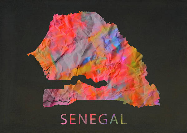 Wall Art - Mixed Media - Senegal Tie Dye Country Map by Design Turnpike