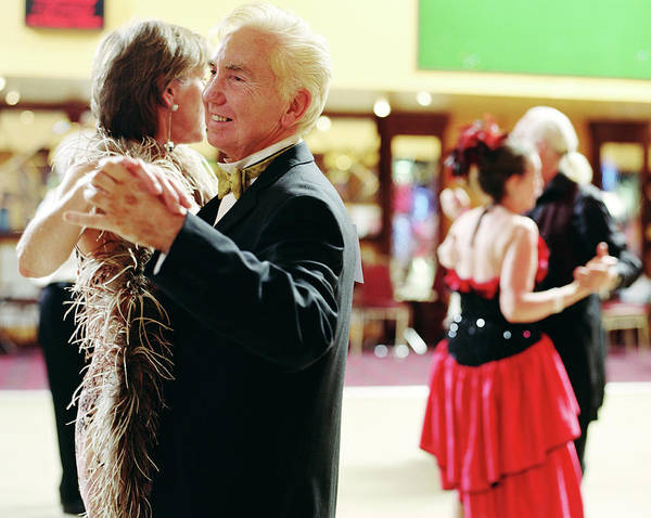 Senior And Mature Couples Dancing Art Print