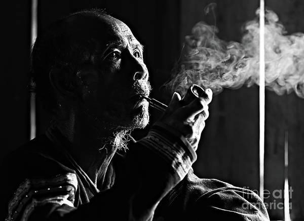 Wall Art - Photograph - Senior Man Smoking Pipe, Vietnam by Tran Anh Linh