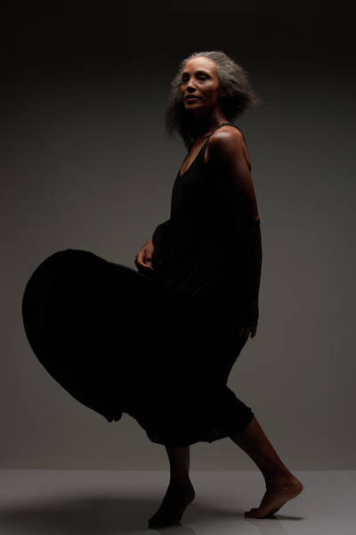 Gray Hair Photograph - Senior Woman In Black Dress Dancing by Shuji Kobayashi