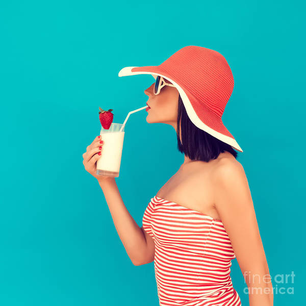 Caucasian Wall Art - Photograph - Sensual Girl With A Summer Cocktail by Evgeniya Porechenskaya