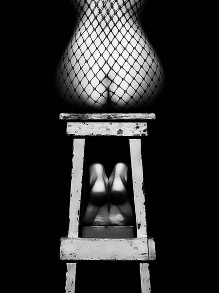 Wall Art - Photograph - Sensual Woman Sitting Rear View by Johan Swanepoel