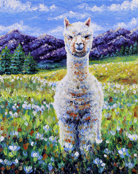Alpaca Painting - Sentinel  by Bari Rhys