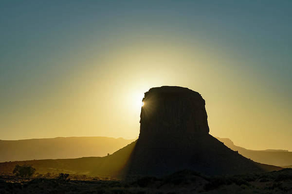 Wall Art - Photograph - Sentinel Mesa Silhouetted At Sunset by Adam Jones