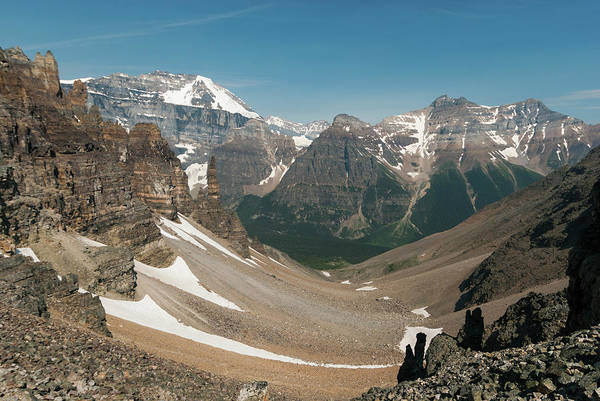 Moraine Lake Photograph - Sentinel Pass, View Into Paradise Valley by John Elk Iii