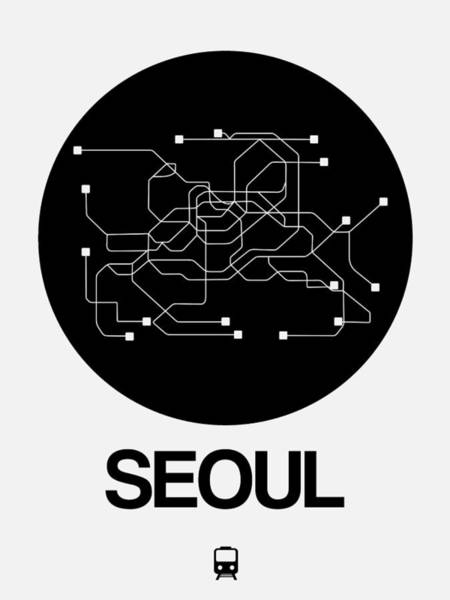Wall Art - Digital Art - Seoul Black Subway Map by Naxart Studio