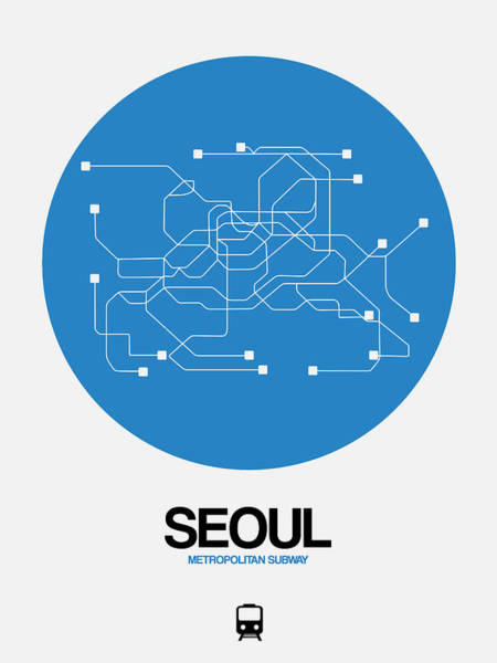 Wall Art - Digital Art - Seoul Blue Subway Map by Naxart Studio