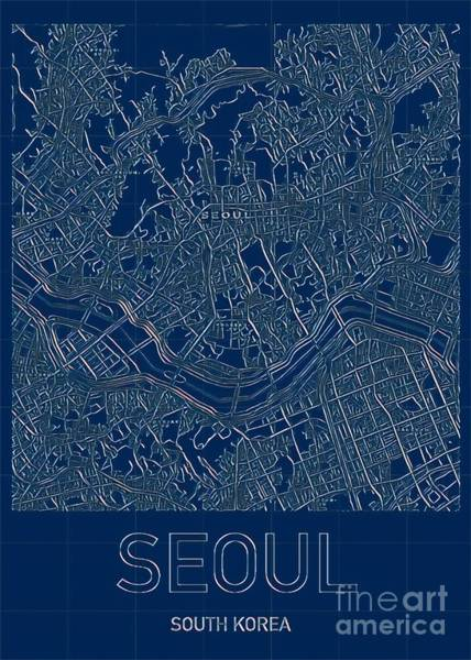 Digital Art - Seoul Blueprint City Map by Helge