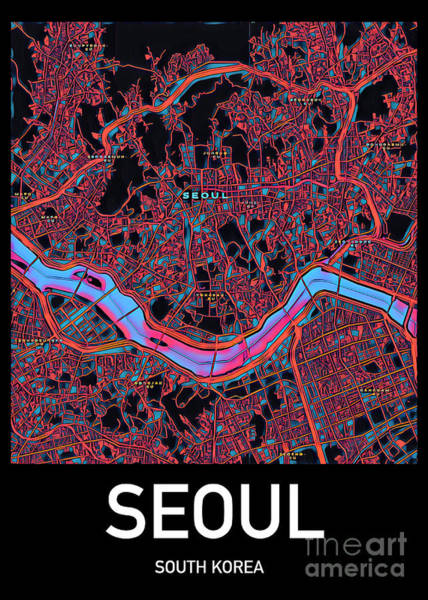 Digital Art - Seoul City Map by Helge