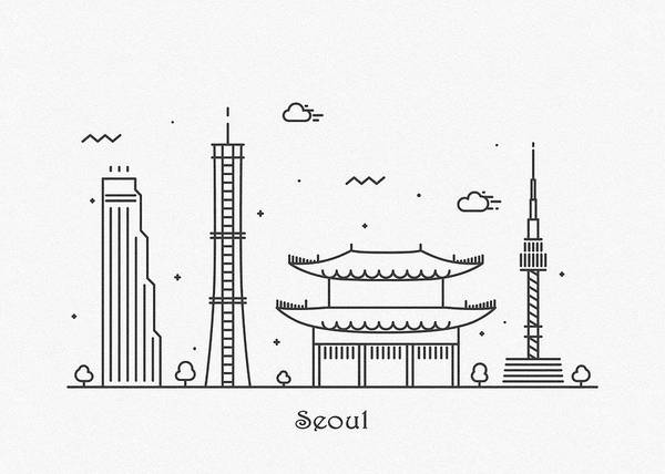 Drawing - Seoul Cityscape Travel Poster by Inspirowl Design