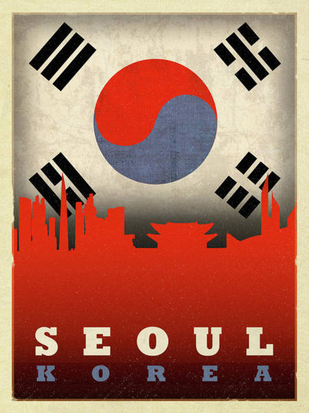 Wall Art - Mixed Media - Seoul Korea City Skyline Flag by Design Turnpike