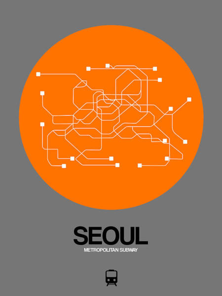 Wall Art - Digital Art - Seoul Orange Subway Map by Naxart Studio