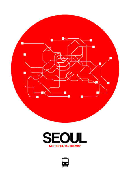 Wall Art - Digital Art - Seoul Red Subway Map by Naxart Studio