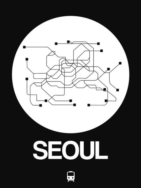 Wall Art - Digital Art - Seoul White Subway Map by Naxart Studio
